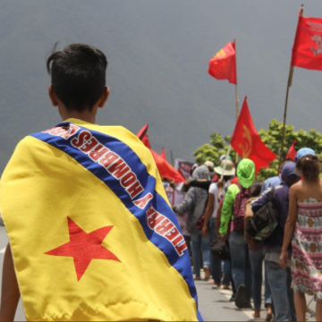 The participants from campesino organizations walked more than 400 kilometers in the rain and heat over 20 days to reach their final destination in Caracas.
