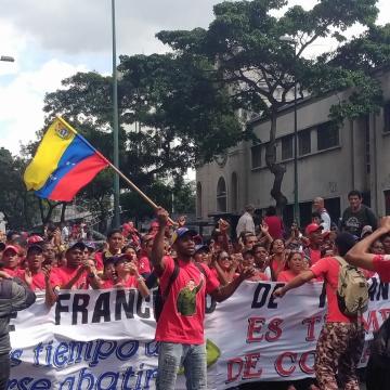 A contingent from Venezuela's socialist youth organization, the Francisco Miranda Front