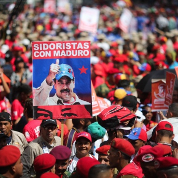Workers at the nationalized steel plant SIDOR rally in support of President Nicolas Maduro