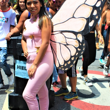 The budget may have been small, but colors and creativity abounded in the Pride March
