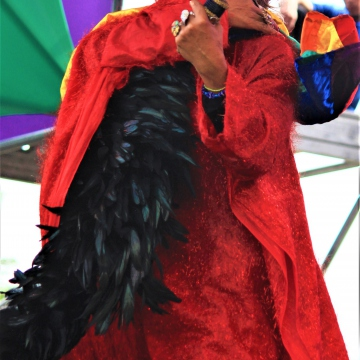 "An artist impersonating Celia Cruz lead the crowd in a rendition of ""I will survive"""