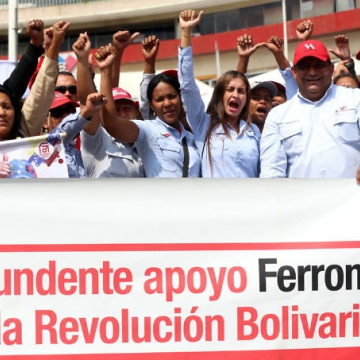 These supporters come from the Ferrominero iron industry in the east of the country. (Gregorio Terán/AVN)