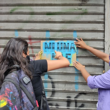 There was also a combatative communications campaign, both in social media and through a number of webinars organised on the day, but also on the streets of Venezuela's major cities. (Karina Alviarez)