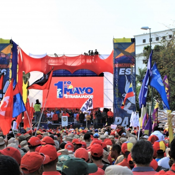 Venezuela's May Day march has been described as one of the biggest shows of support for Maduro in recent years. (Katrina Kozarek)