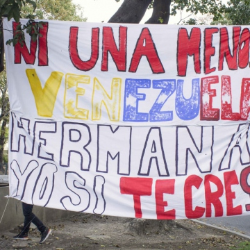 "Venezuela is experiencing an upsurge in domestic or gender-based violence. Here, a banner reads ""Not a single more more, Venezuela, sister, I believe you."" (May Riveros)"