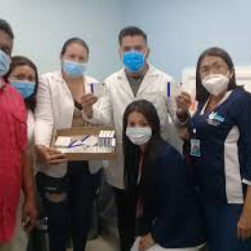 Doctors celebrate as the first vaccines arrive at Merida's IAHULA Hospital. (IAHULA)