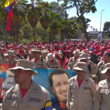 The Bolivarian Militia was also present at the march, showing its support for the civil-military union. (@MiliciaBV1 / Twitter)
