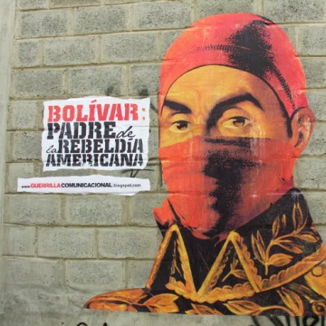 "Using a combination of printed images, wheatpaste, and paints, Venezuela's Communicational Guerrilla modernized and urbanized the image of Simon Bolivar, ""Father of American Rebellion"" as they describe him."