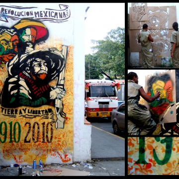 "Inspired by the popular art techniques of Guadalupe Posada, and in commemoration of the 100 year anniversary of the Mexican Revolution (1910-2010), Venezuela's Communicational Guerrilla prepared this stencil/mural with the phrase, ""Land and Liberty."""