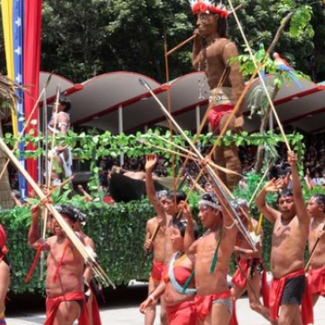 Indigenous groups took part in the march wearing traditional indigenous dress (Axis of Logic)