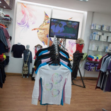 Known as the Tienda del ALBA (Store of ALBA), this clothing outlet in Caribia is stocked with items made by business enterprises within the ALBA integration effort (Correo del Orinoco).