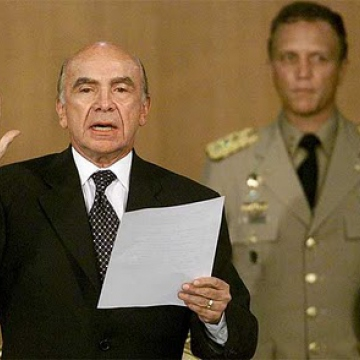 Former President of Venezuela's main chamber of commerce, FEDECAMERAS, Pedro Carmona assumed the presidency forming a defacto government and disbanding all of the country's democratic institutions, including the Constitution and the National Assembly (ManuelMiranda)