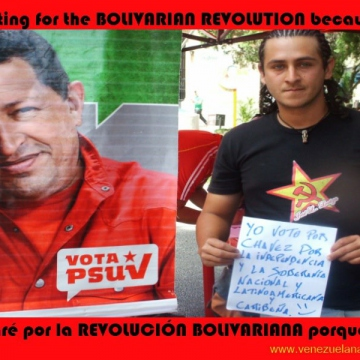 """I vote for Chavez because of independence and national and Latin American and Caribbean sovereignty"""