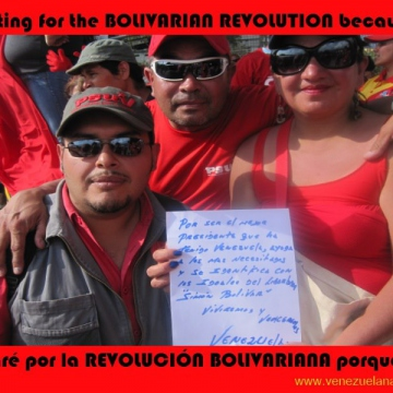"I'm voting for Chavez ""for being the best president that Venezuela has had, he helps those who most need it and he identifies with the ideals of the liberator Simon Bolivar. We'll live and we'll overcome!"""