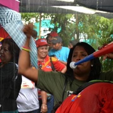 Despite the rain, people were still in high spirits... (Ryan Mallett-Outtrim)