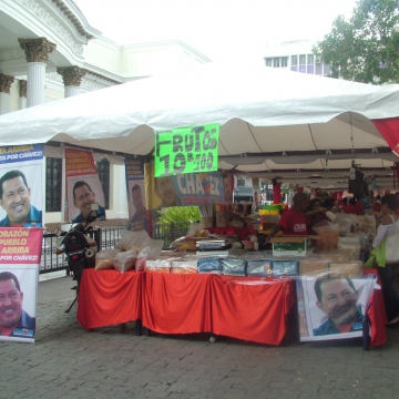 A PSUV campaign stall near the national assembly in Caracas