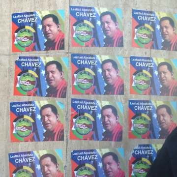 Pro Chavez stickers in the street in central Caracas (Tamara Pearson / Venezuelanalysis.com)