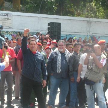 Chavez voting in  Manuel Palacios Fajardo High School, in 23 de Enero, Caracas  (Tamara Pearson / Venezuelanalysis.com)