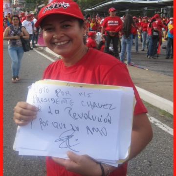 """I vote for president Chavez, for the revolution, and because I love him"""