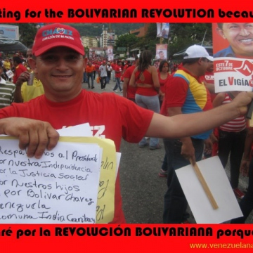 """We support the president for our independence, for social justice, for our children, and for Bolivar. Chavez, Venezuela. Commune Indio Caribay"