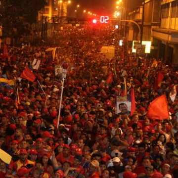 The spontaneous street party in Caracas with Chavez supporters celebrating the result (AVN)