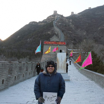 A supporter on the Great Wall of China