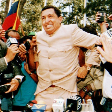 When he was released in 1994, Chavez first toured Venezuela, and later visited neighbouring Latin American nations. Although he drew little mainstream media attention in Venezuela, his popularity rose quickly, especially amongst the poor and middle classes. (Bertrand Parres/AFP/Getty Images)