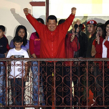 On October 7, 2012, Chavez delivered his victory speech to crowds from a balcony at Miraflores Palace, Caracas. Two months later, he departed for Havana, Cuba, to undergo more cancer treatment. (Juan Barreto/AFP/Getty Images)