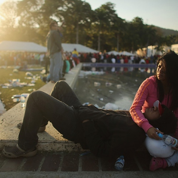 Some supporters arrived early to line up. (Mario Tama/Getty Images)