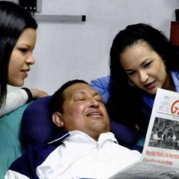 After more than two months in a Havana hospital, images were released of Chavez and his daughters on February 15, sparking celebrations across Venezuela. However, these would be some of the last images of the president that reshaped Venezuela. (Prensa Presidencial)