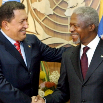 "While garnering considerable support from the Latin American left, by 2006 US-Venezuelan relations had deteriorated. While it wasn't the first time Chavez's anti-imperialist stance made world headlines, his September 20 speech to the United Nations was perhaps one of his most famous moments. During the speech, he described then US President George Bush as ""the devil"". (Justin Lane/EPA)"