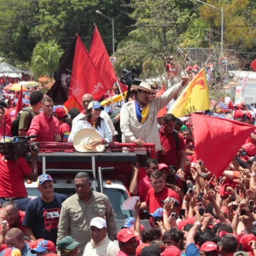 Maduro supports rallied when Maduro arrived in Cojedes (Prensa Miraflores)