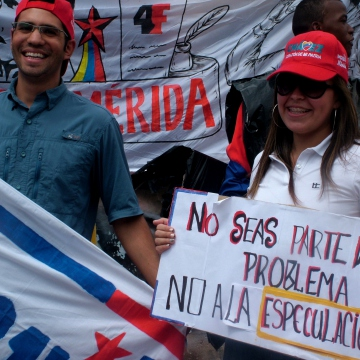"""""""Don't be part of the problem, no to speculation"""" (Tamara Pearson/Venezuelanalysis)"""