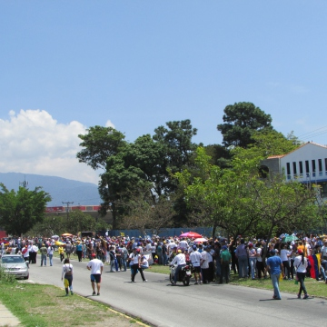 Opposition activists gathering for a demonstration on 12 March. While still sizeable, numbers were noticably down on earlier marches.