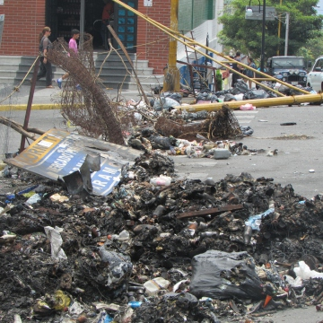 More photos of the burnt rubbish, lamposts and other materials left by the barricaders to block the road. The smell left by the burnt waste was jarring.