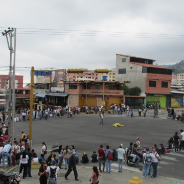 A smaller group of opposition activists temporarily block a main city intersection, later on 18 February.