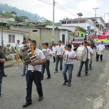 The town band led the march.