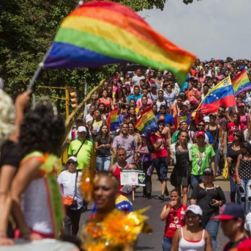 Venezuelans march in the 14th annual Pride Parade in Caracas. (MIGUEL GUTIÉRREZ / EFE)