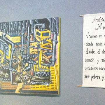Paintings by Collective Cayapo members hung on the wall at the Philosophical Summit of the Poor in Caracas (Cory Fischer-Hoffman, Venezuelanalysis)