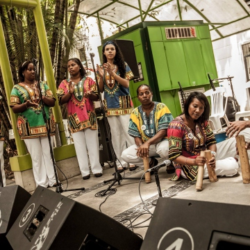 "AfroVenezuelan music group, Grupo Eleggua, performed at the event ""Pandemonium of the Black Women"" held as part of the week-long commemoration (Afroo Raiz Afroo Indigena)"