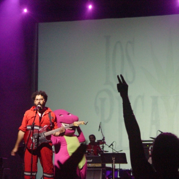"Los Pecaya, an alternative rock band based in Caracas, performed a humorous piece on the popular US children's character ""Barney"", the dinosaur. (Venezuelanalysis/Paola Martucci Gómez)"