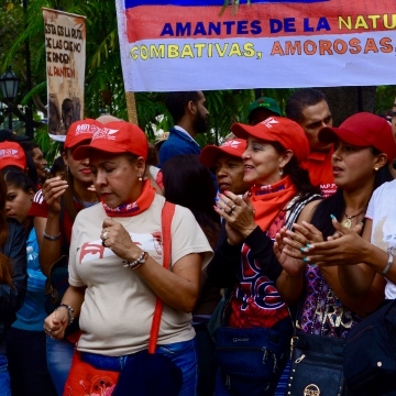 "Sign far left reads ""The revolution has the face of a woman"". (Rachael Boothroyd Rojas/Venezuelanalysis)"