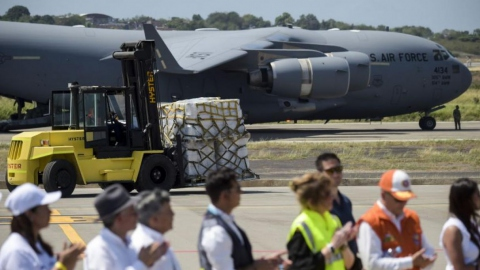 One of the three US Air Force C-17 cargo planes in Cucuta, Colombia.