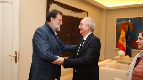 Spanish President Mariano Rajoy with Venezuelan fugitive Antonio Ledezma