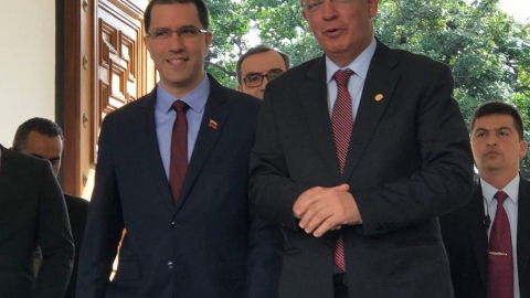 Venezuelan Foreign Minister Jorge Arreaza with Portuguese Foreign Minister Augusto Santos Silva
