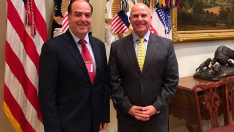 Hard-right Venezuelan opposition leader Julio Borges meets with Former Trump National Security Advisor H.R. McMaster on May 6, 2017. Borges has been one of the leading advocates of foreign sanctions against Venezuela and has lobbied numerous governments a