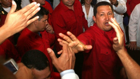 Chavez is greeted by pro-government doctors in the Teresa Carreño theater during a commemoration for the 40-year anniversary of Che Guevara's death. (Marcelo García)