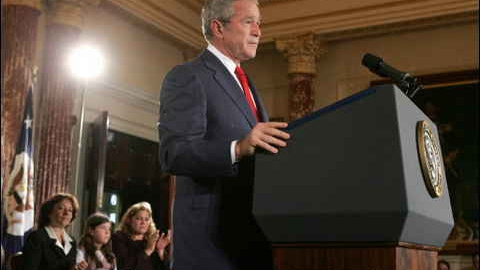 US President George W. Bush speaks about Cuba at the US State Department on Wednesday (AFP)