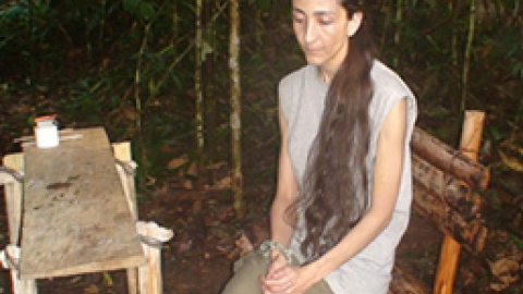 The FARC hostage Ingrid Betancourt in one of the images that prove she was still alive in October of this year.