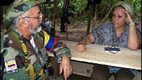 FARC leader Raul Reyes meeting with Colombian Senator Piedad Cordoba in the Colombian jungle (AFP)